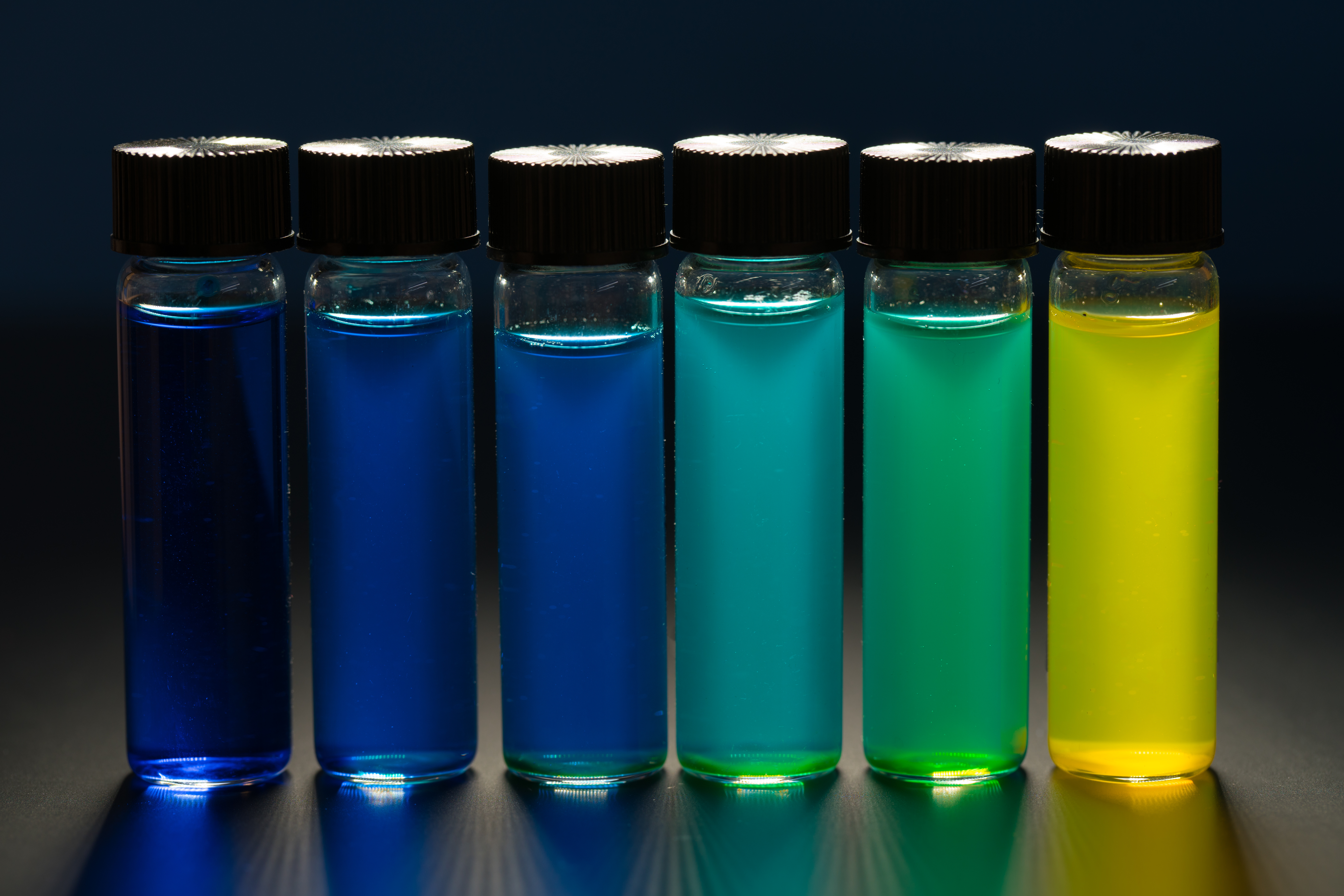 Multi-colored liquid in the vials